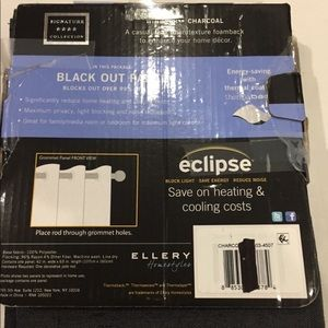 NWOT-Eclipse charcoal black out panel curtain